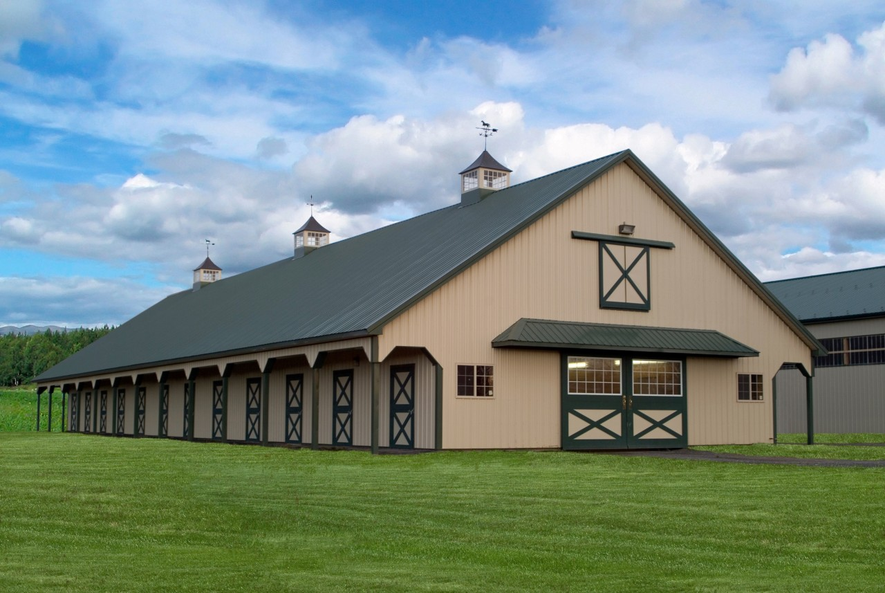 Equestrian pole building tri state buildings pa nj for Pole barn roof pitch